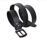 Мужской кожаный ремень Dovhani LT8702-21 115-125 см Черный, фото 4