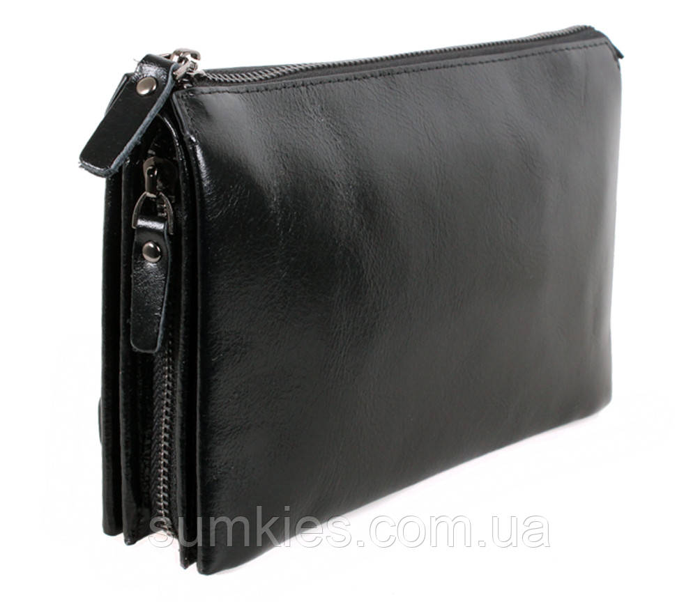 Добротный клатч из кожи высокого качества BLACK006-2 Черный