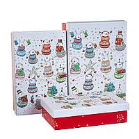 "Набор коробок для подарков подарочные 3-х коробок ""Калейдоскоп снеговиков"" 22*15*6,5 (8211-065)"