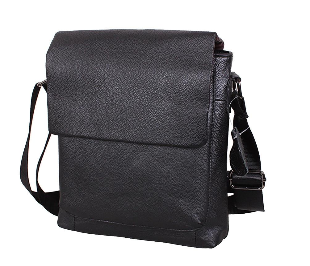 Мужская кожаная сумка Dovhani R006 Черная