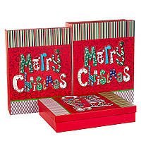 """Набор коробок для подарков подарочные 3-х коробок """"Новогодний"""" 39*30*11 (8211-020)"""