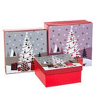 "Набор коробок для подарков подарочные 3-х коробок ""Новогодняя елка"" 20*20*9,5 (8211-045)"