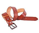 Мужской кожаный ремень Dovhani BUFF000-2 Рыжий, фото 6