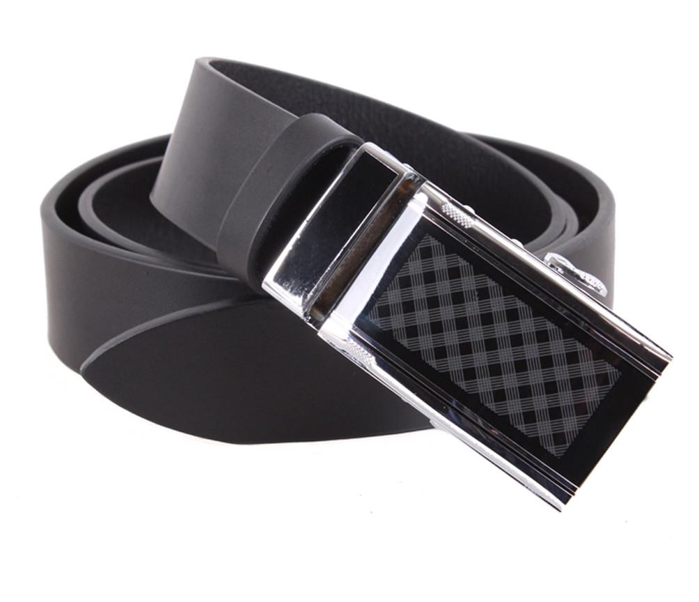 Мужской кожаный ремень Dovhani ALD666-29 115-125 см Черный