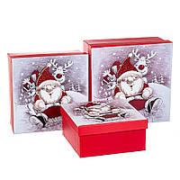 """Набор коробок для подарков подарочные 3-х коробок """"Санта и Рудольф"""" 20*20*9,5 (8211-003)"""