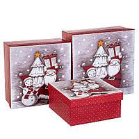 """Набор коробок для подарков подарочные 3-х коробок """"Новогодние друзья"""" 20*20*9,5 (8211-001)"""