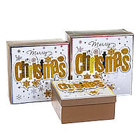 "Набор коробок для подарков подарочные 3-х коробок ""Золото"" 20*20*9,5 (8211-040)"