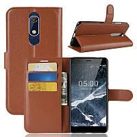 Чехол Luxury для Nokia 5.1 / 5 2018 книжка коричневый