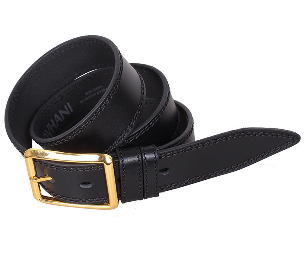 Мужской кожаный ремень Dovhani LP604-199 115-125 см Черный