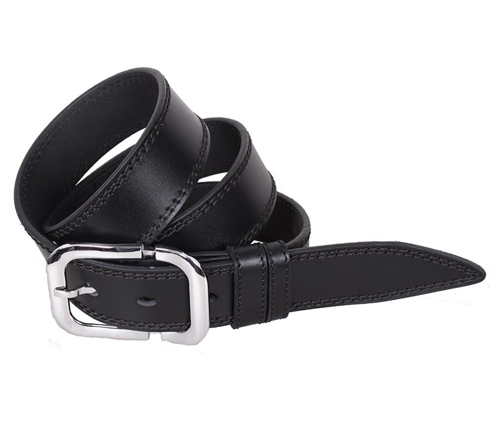 Мужской кожаный ремень Dovhani LP610-199 115-125 см Черный