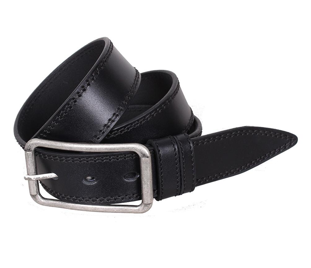 Мужской кожаный ремень Dovhani LP615-199 115-125 см Черный