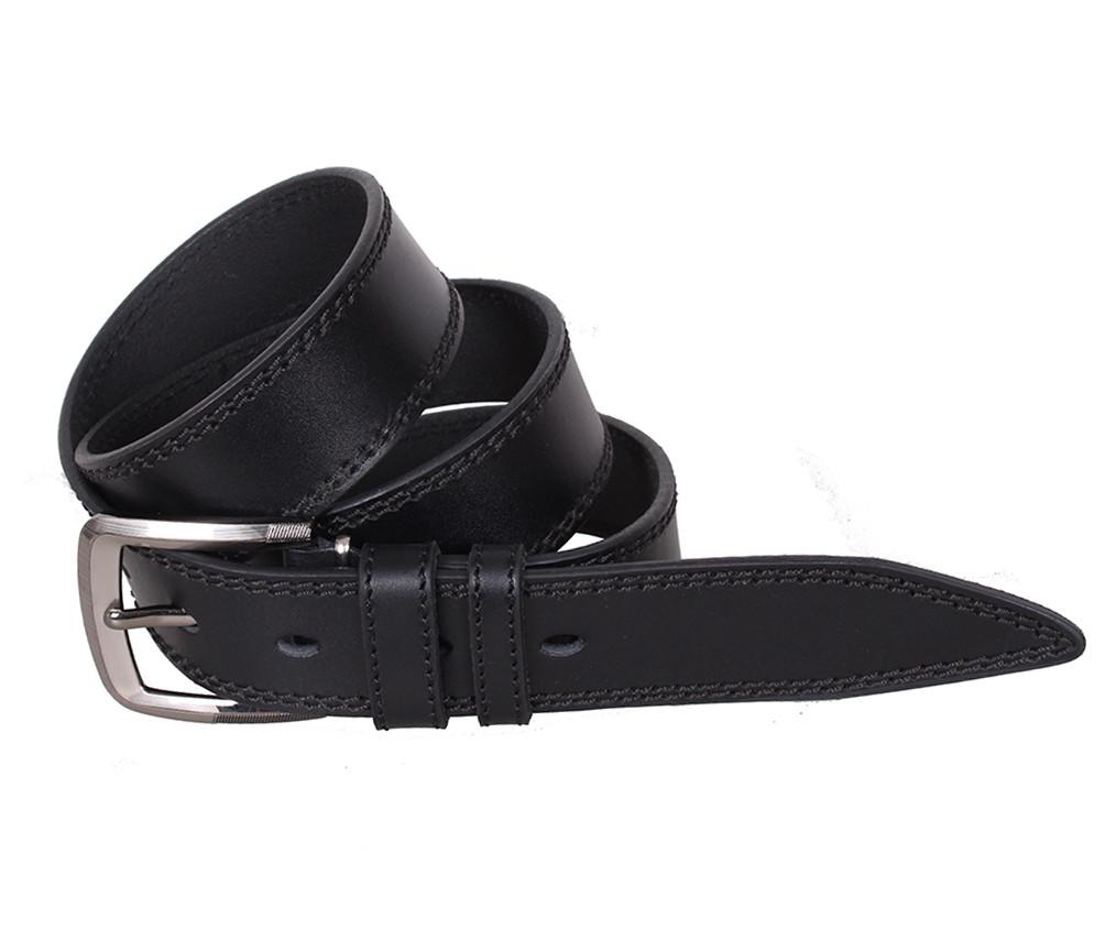 Мужской кожаный ремень Dovhani LP617-199 115-125 см Черный