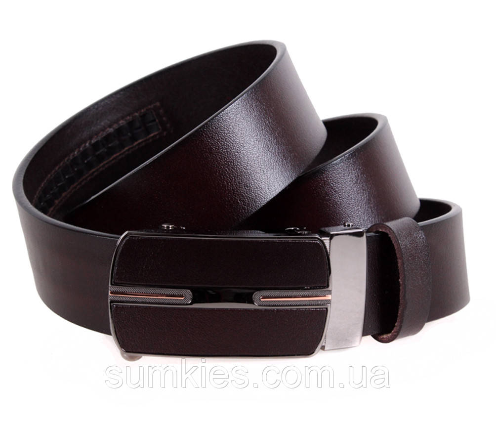 Мужской кожаный ремень Dovhani MGA101-15 105-125 см Коричневый