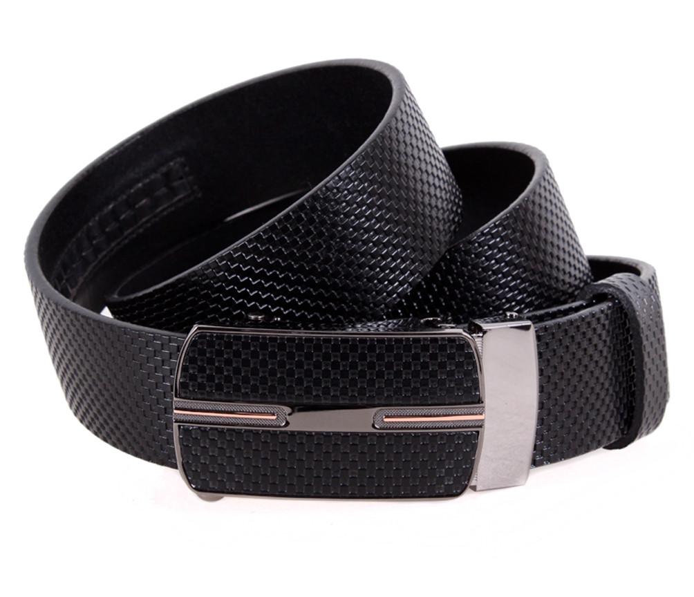 Мужской кожаный ремень Dovhani MGA101-17 105-125 см Черный