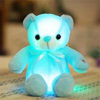 Светящийся плюшевый медвеженок игрушка для детей и взрослых голубой