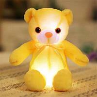 Светящийся плюшевый медвеженок игрушка для детей и взрослых желтый