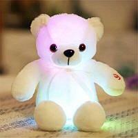 Светящийся плюшевый медвеженок игрушка для детей и взрослых белый