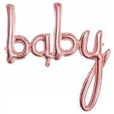 """Гірлянда фольгована на виписку для дівчинки, рожеве золото, """"Baby"""""""