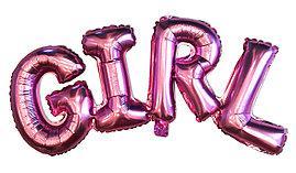 """Гірлянда фольгована на виписку для дівчинки, рожева, """"Girl"""""""