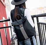 Рюкзак женский городской rolltop Макрос B7207 15л черный, фото 4