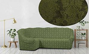 Жаккардовый чехол на угловой диван зеленого цвета