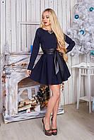 Нарядное платье с длинным рукавом  на переднем полотнище карманы