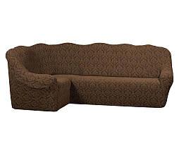 Жаккардовый чехол на угловой диван коричневого цвета