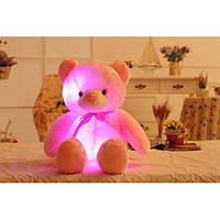 Светящийся плюшевый медвеженок игрушка для детей и взрослых розовый