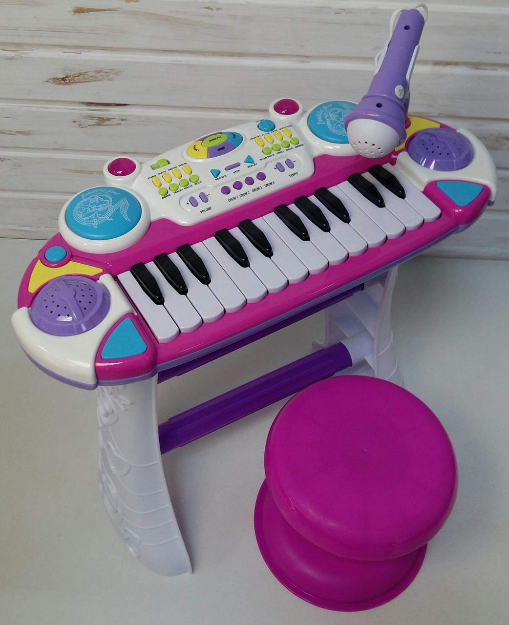 Синтезатор пианино с микрофоном и стульчиком 335