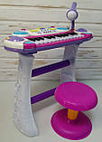 Синтезатор пианино с микрофоном и стульчиком 335, фото 3