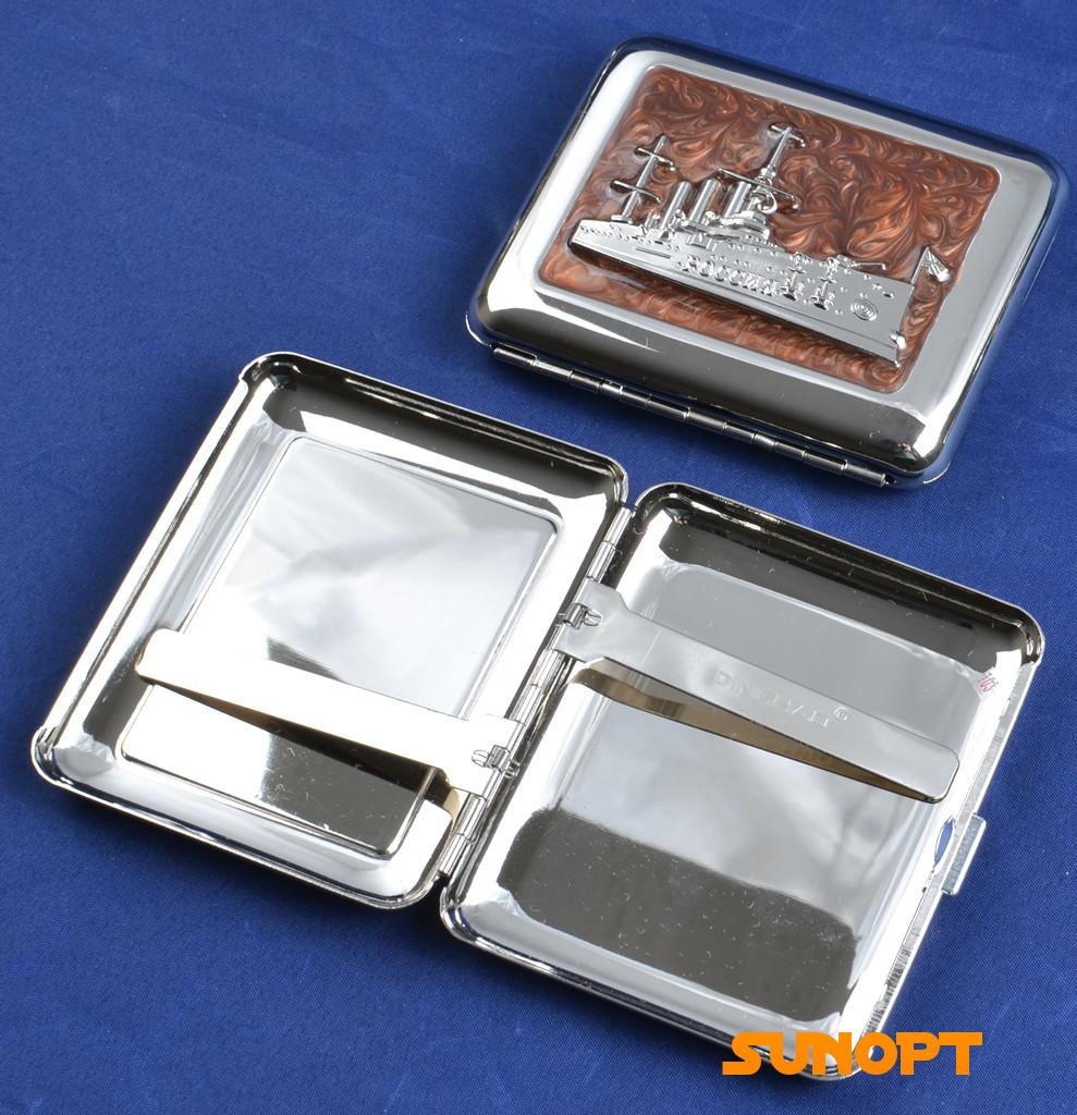"""Портсигар металлический компактный подарочный подарок для сигарет компактный  на 18 сигарет """"Боевой корабль"""""""