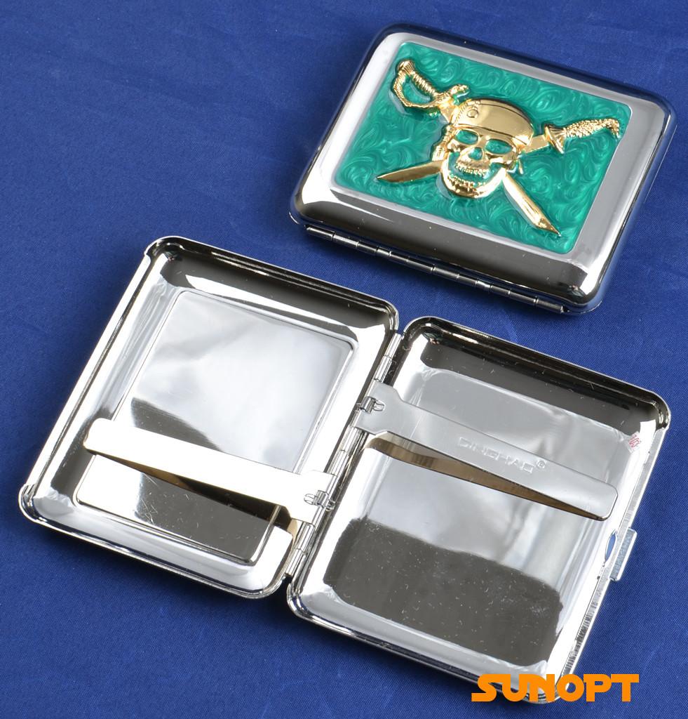 """Портсигар металлический компактный подарочный подарок для сигарет компактный  на 18 сигарет """"Пират"""" №2438-7"""