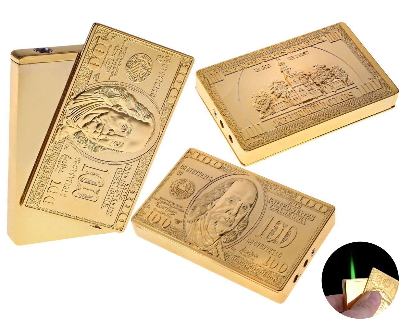 """Зажигалка подарочная сувенирная в подарок оригинальная для мужчины карманная """"Клише 100$"""", под золото (Турбо"""