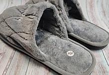 Мужские домашние теплые комнатные тапочки тапки серые 42/43р 27.5-28см, фото 2