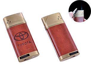 Зажигалка подарочная сувенирная в подарок оригинальная для мужчины карманная TOYOTA (Острое пламя, кожа) №4893