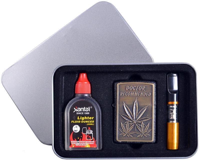 Подарочный набор (серия Конопля) 3в1 Зажигалка, бензин, мундштук №4710-1