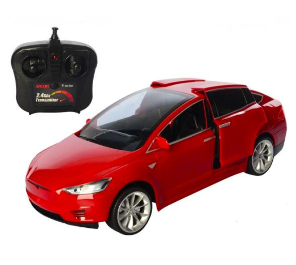 Машинка на радиоуправлении Tesla Model X (красная)