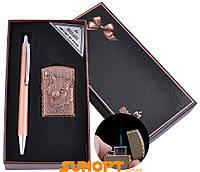 Сувенирные подарочные наборы готовые оригинальные ручка, зажигалка Острое пламя №BX-002C-2