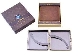 Портсигар подарунок для сигарет компактний в подарунковій упаковці GVIPAI (Шкіра, 20 шт) №XT-4986-1