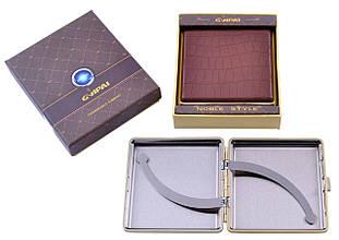 Портсигар подарунок для сигарет компактний в подарунковій упаковці GVIPAI (Шкіра, 20 шт) №XT-4986-2