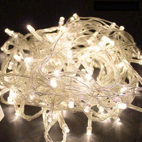 Лед гірлянда на ялинку 15 метрів 500 LED (лампочок) Теплий білий, Білий кабель, гірлянда новорічна