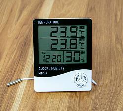 Гигрометр с выносным датчиком HTC-2, настольные часы с термометром и гигрометром | гігрометр електронний (GK)