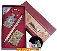 Сувенирные подарочные наборы готовые оригинальные брелок, ручка, зажигалка Wolf Острое пламя №ST-5744