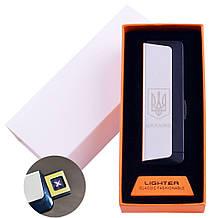 Електроімпульсна запальничка в подарунковій упаковці Ukraine (Подвійна блискавка, USB) №HL-62 Silver