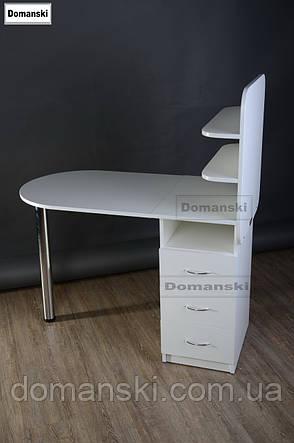 Маникюрный стол с ящиками и двумя полочками., фото 2