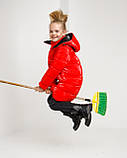 Блестящая красная зимняя куртка для  девочки рост 146 -152. Лаковый красный пуховик детский, фото 3