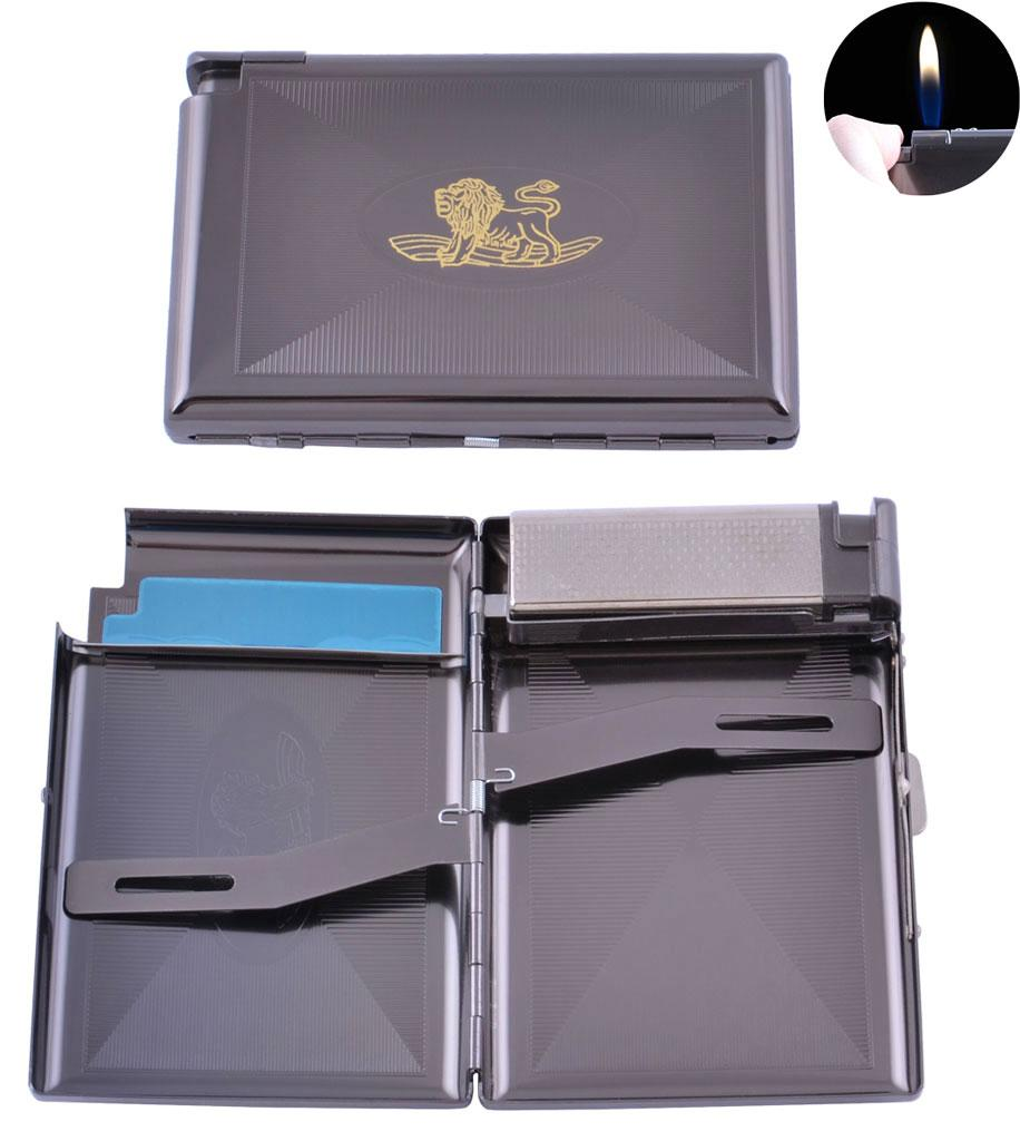 Портсигар подарунок для сигарет компактний + запальничка на 18 сигарет Лев (Звичайне полум'я) №XT-3303-2