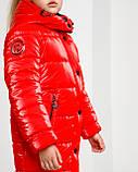 Блестящая красная зимняя куртка для  девочки рост 146 -152. Лаковый красный пуховик детский, фото 4