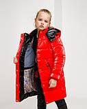 Блестящая красная зимняя куртка для  девочки рост 146 -152. Лаковый красный пуховик детский, фото 2