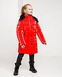 Блестящая красная зимняя куртка для  девочки рост 146 -152. Лаковый красный пуховик детский, фото 5
